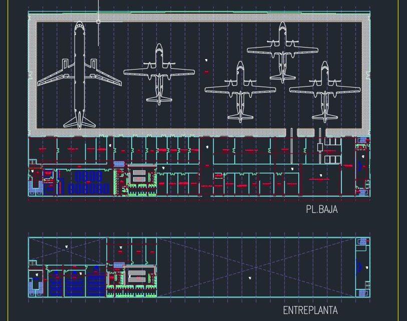 Aircraft Maintenance Hangar Plan CAD Template DWG