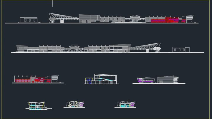 Airport Terminal Elevation Details CAD Templates DWG