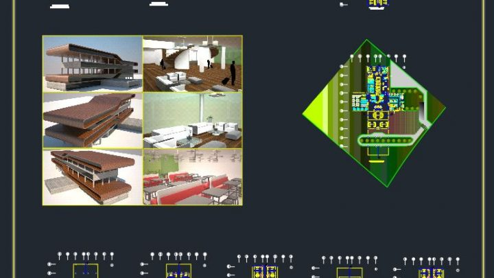 Airport Transit Hotel Plans and 3D Photos CAD Template DWG