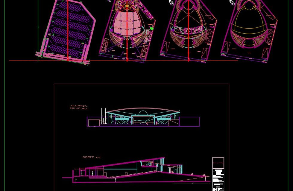 Auditorium Plans with Elevations and Sections Details CAD Template DWG