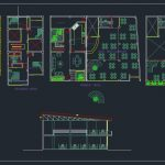Bar Restaurant Plans and Elevation CAD Template DWG