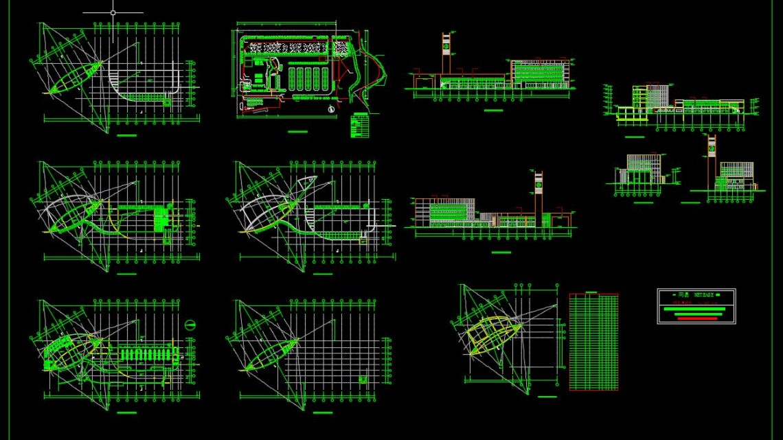 Bus Station Plan and Elevation CAD Template DWG