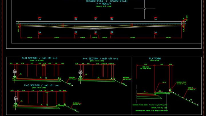 Bus Stop Plan and Sections Details CAD Templates DWG