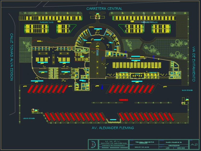 Bus Terminal Terrestrial Plan With All Details Dwg Template Dwg Cad Templates