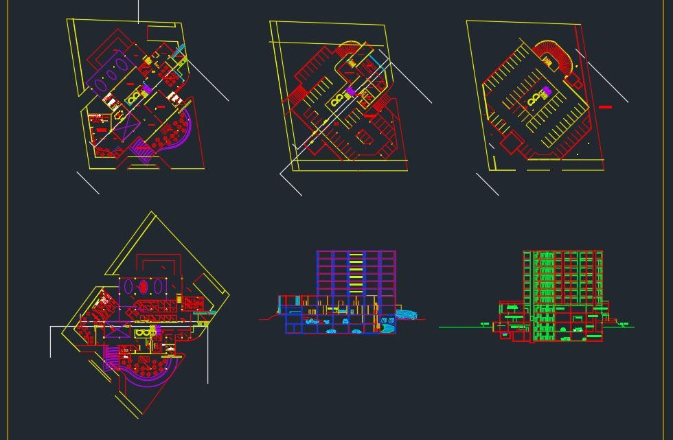 Business Hotel Plan and Elevation Details CAD Templates DWG