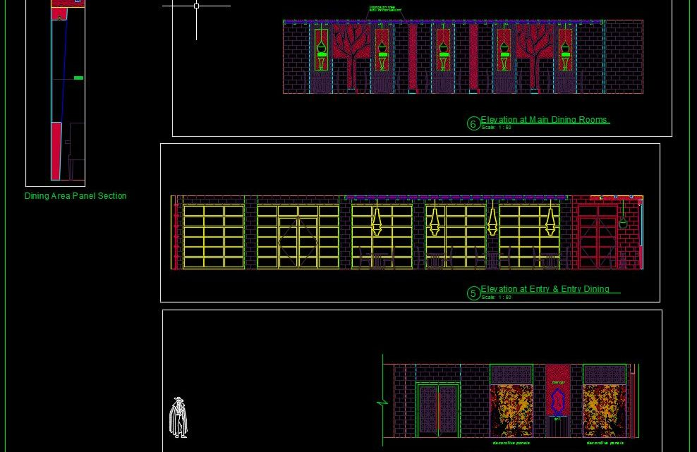 Chinese Restaurant Elevations CAD Templates DWG