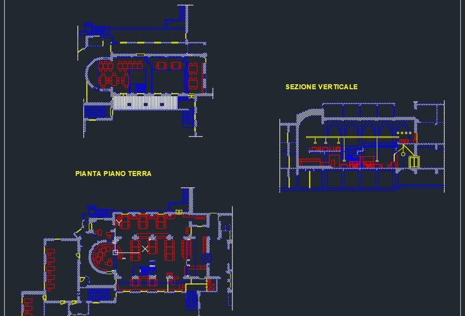 Classical Library CAD Plan Template DWG