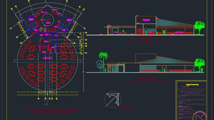 Coffee Bar and Gymnasium Layout Plan CAD Template DWG