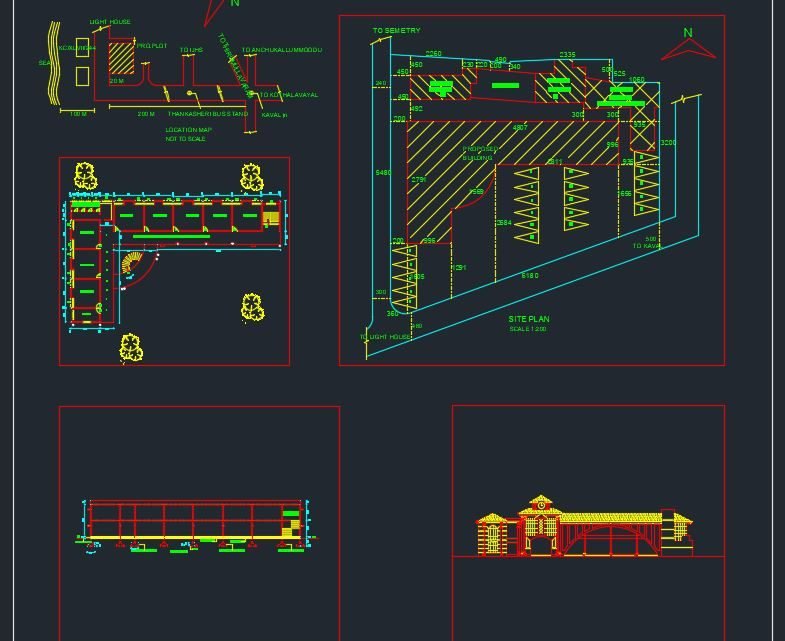 Elementary School Plans Elevation and Section Details CAD Template DWG