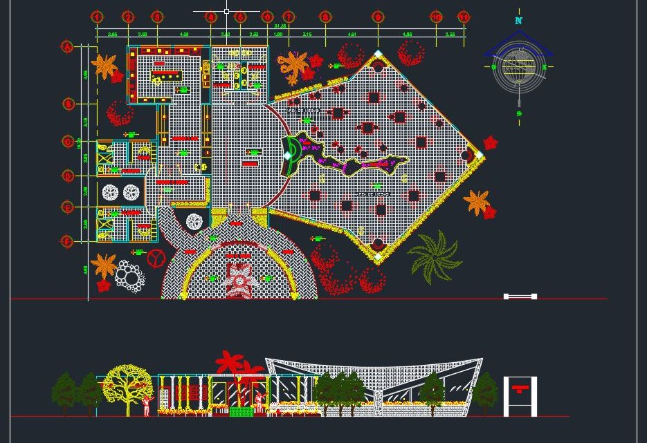 Fast Food Restaurant Plan and Elevation Details CAD Template DWG