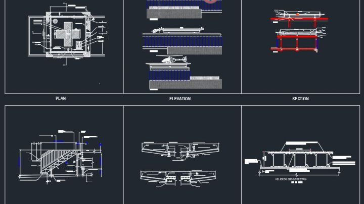 Helipad Plan and Elevation Details CAD Template DWG