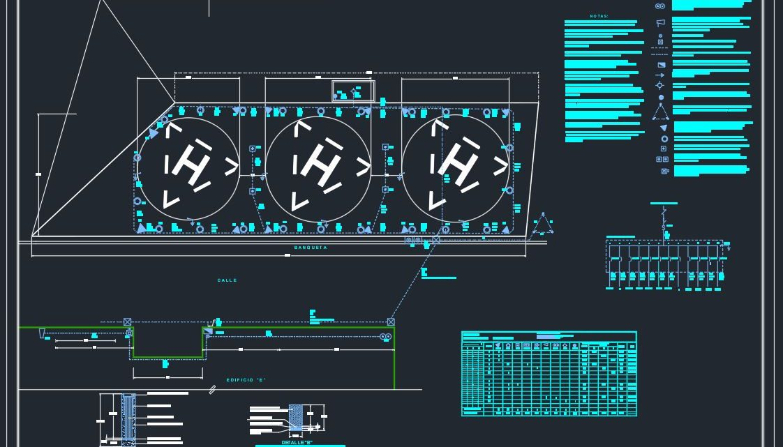 Heliport Electrical Installation CAD Template DWG