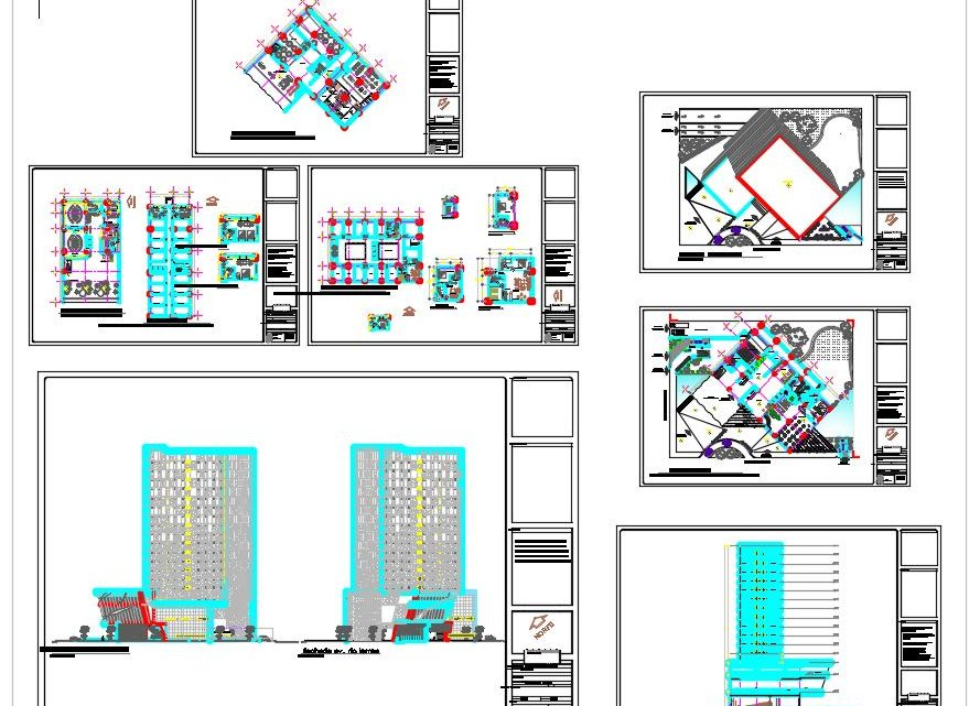 High Rise Four Stars Hotel Plans and Elevation CAD Templates DWG