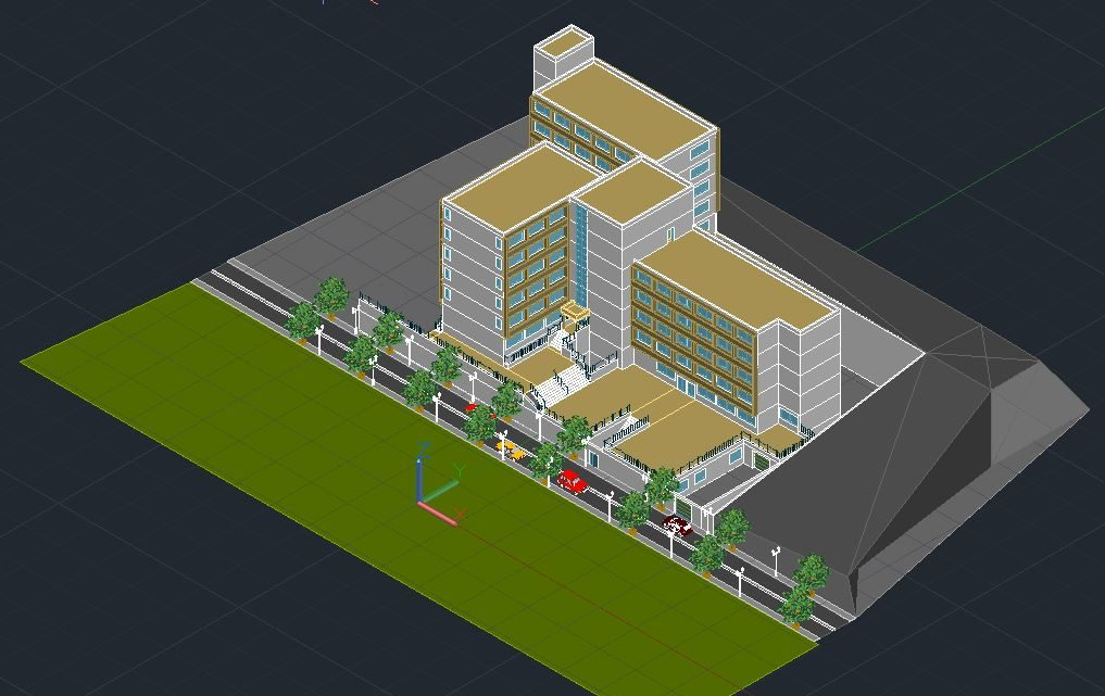 Hotel Tower Building 3d Design CAD Template DWG