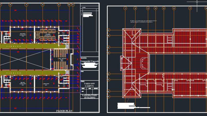 Laboratory Building Block Design Plan CAD Template DWG