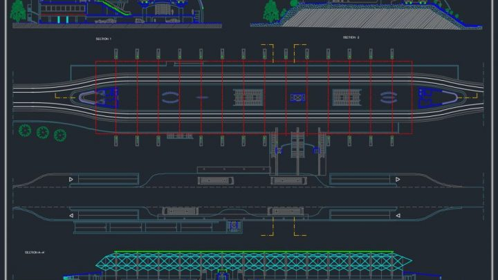 Metro Station Design Plan CAD Template DWG