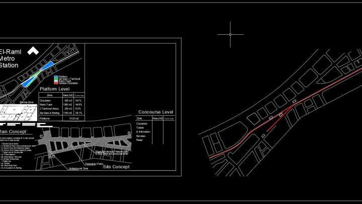Metro Station General Plan CAD Template DWG