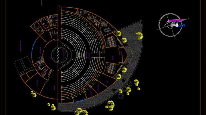 Outdoor Theater Design Plan CAD Template DWG