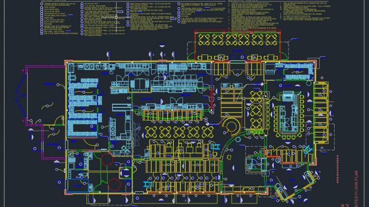 Pizzahut Restaurant Layout Plan CAD Template DWG