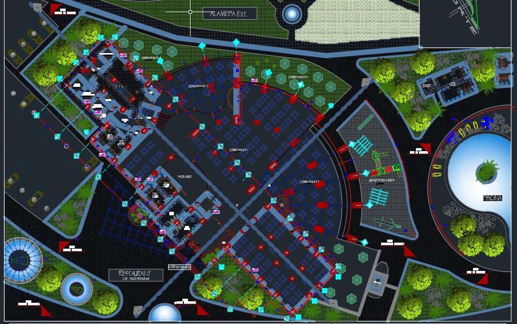 Restaurant Landscape Plan CAD Template DWG