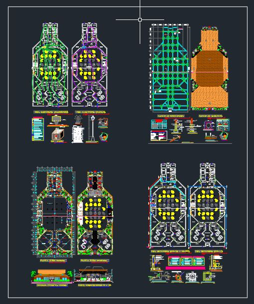 Restaurant Layout Plan with Details CAD Template DWG