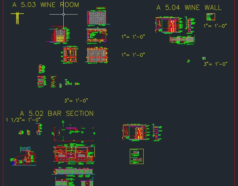 Restaurant Millwork Details CAD Templates DWG