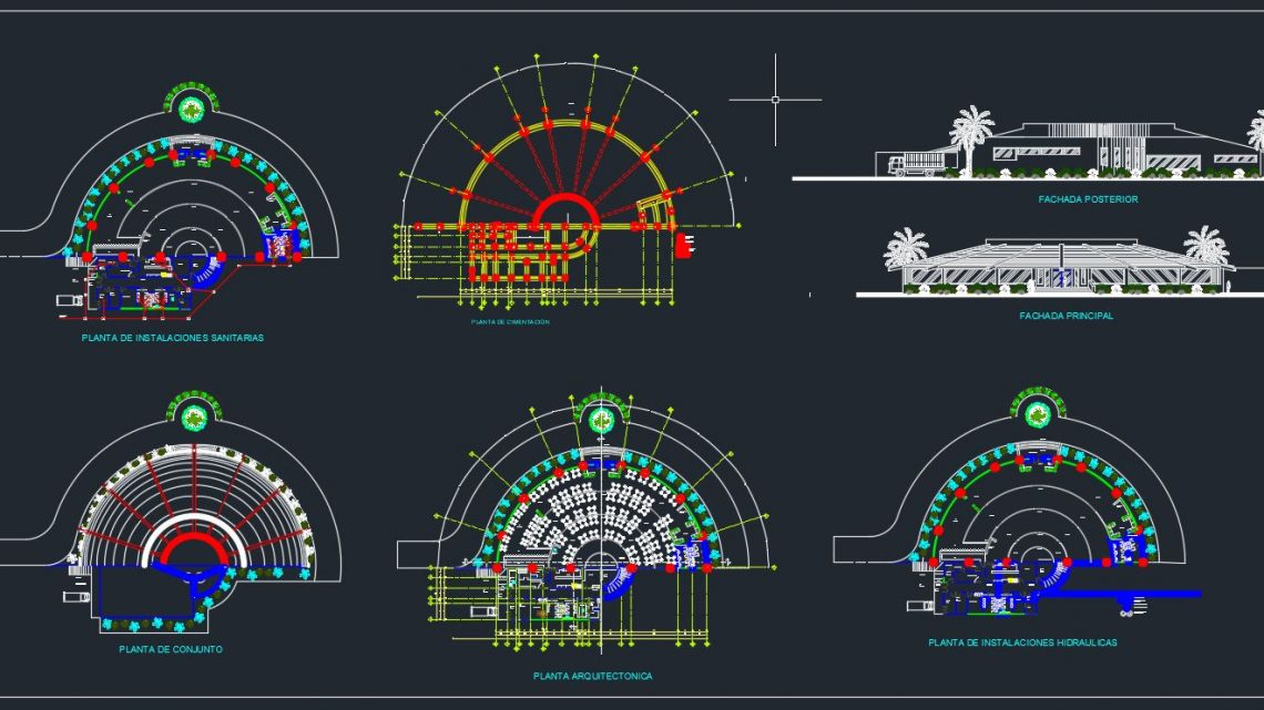Restaurant Plan And Elevation With Hydraulic Details Cad Template Dwg Cad Templates
