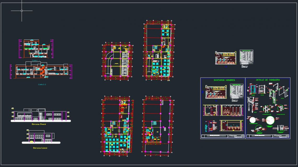 Restaurant Plan and Elevation with Sanitary Details CAD Template DWG