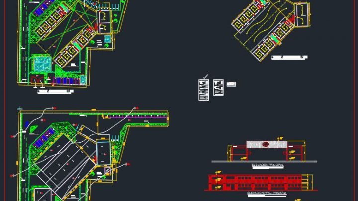 School Architecture Plan CAD Template DWG