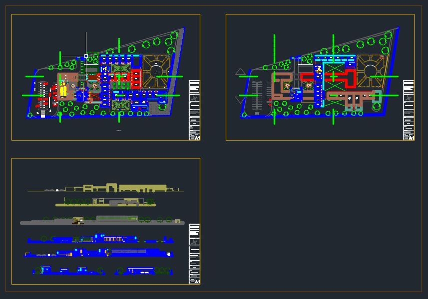 School Plans and Elevation Details Autocad Drawing