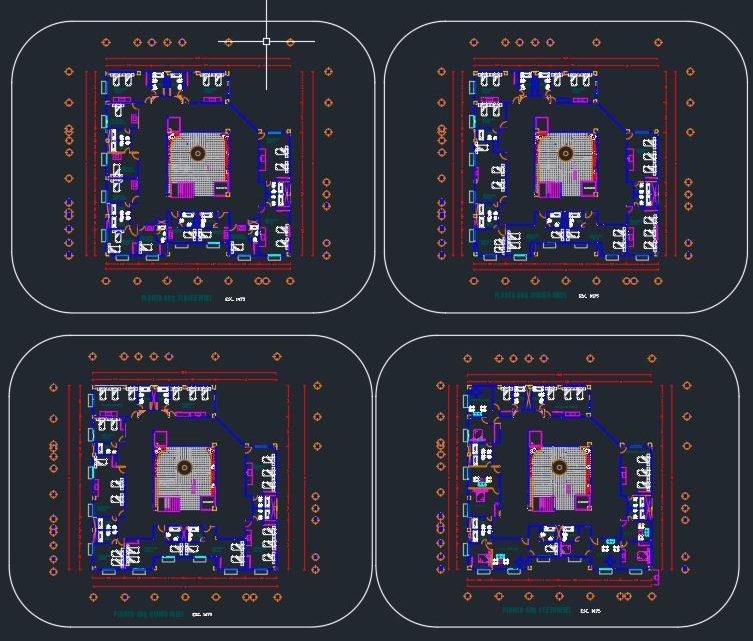 Six Levels Hotel Design CAD Template DWG