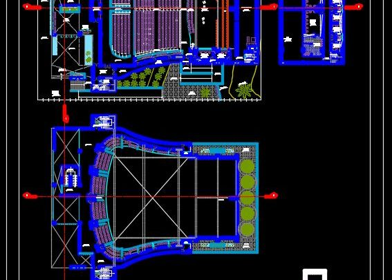 Theater Design Plan and Elevation CAD Template DWG