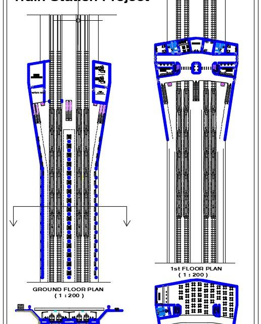 Train Station Project Plan and Section CAD Template DWG