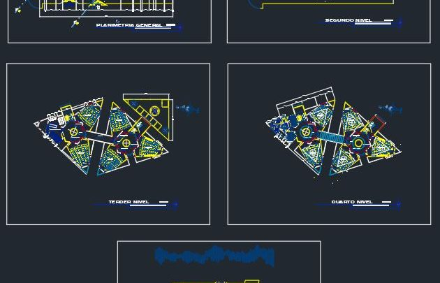 University Center Layout Plan and Elevation CAD Template DWG