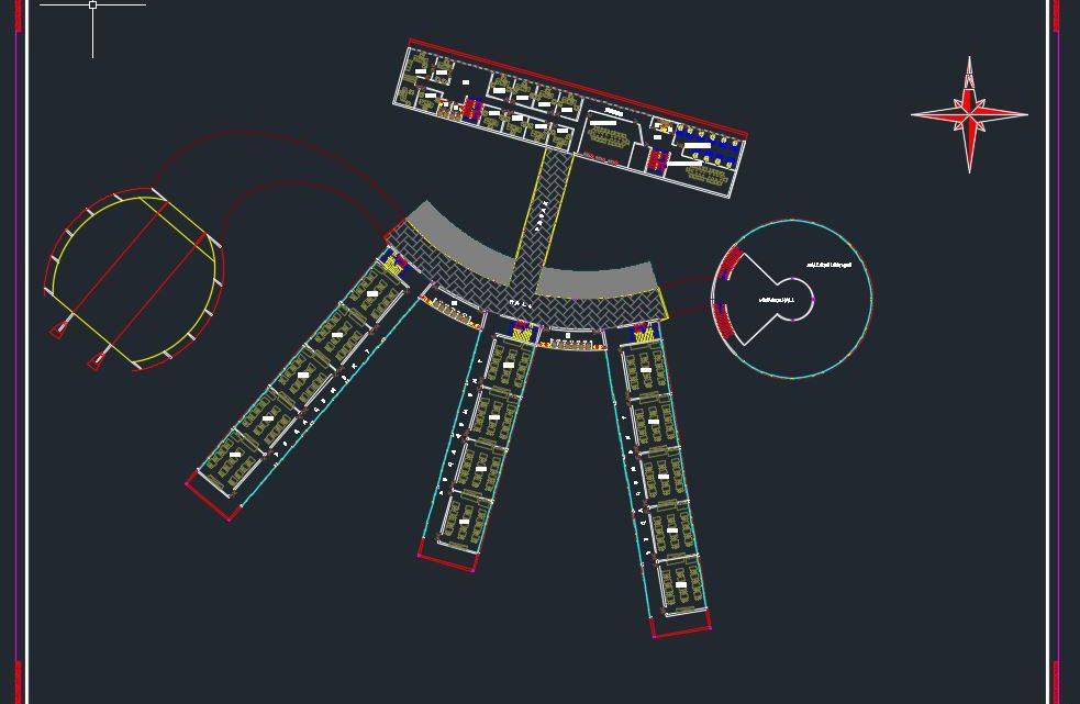 University Layout Plan CAD Template DWG