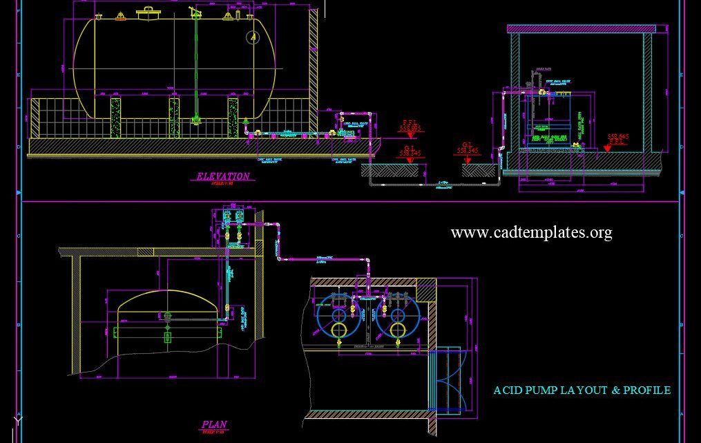 Acid Pump Layout and Profil Drawing CAD Template DWG