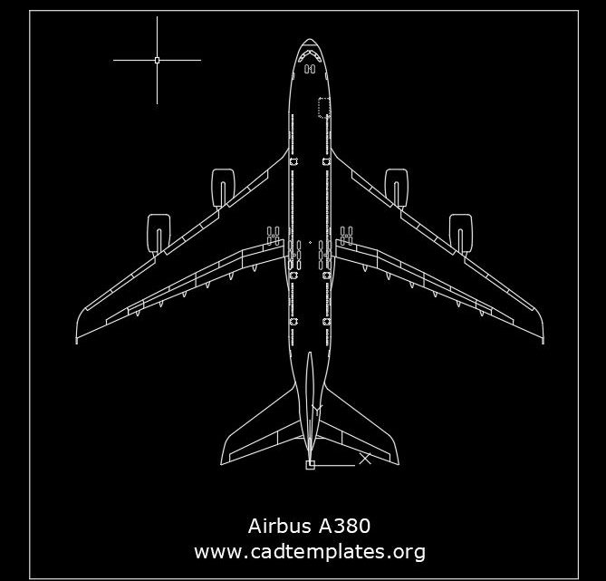 Aircrafts Airbus A380 Top View CAD Template DWG