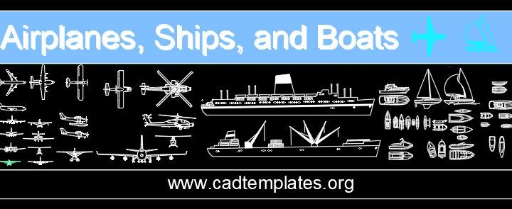 Airplanes Ships and Boats Autocad Free Blocks CAD Template DWG