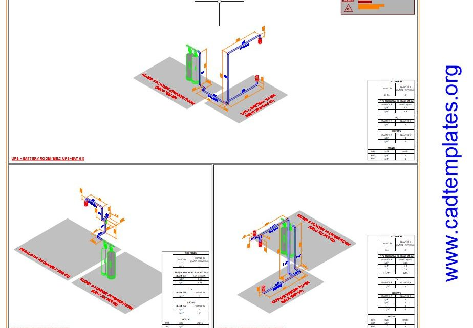 Automatic Fire Gas Suppression System Autocad Template DWG