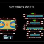 Basketball Court Layout Plan Elevation and Sections Autocad Template DWG