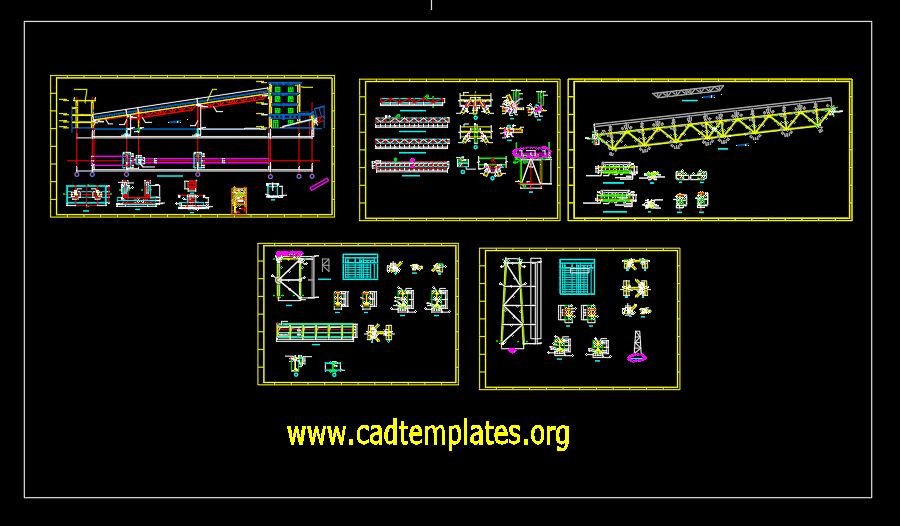Belt Conveyor Foundation and Steel Connection Details CAD Template DWG