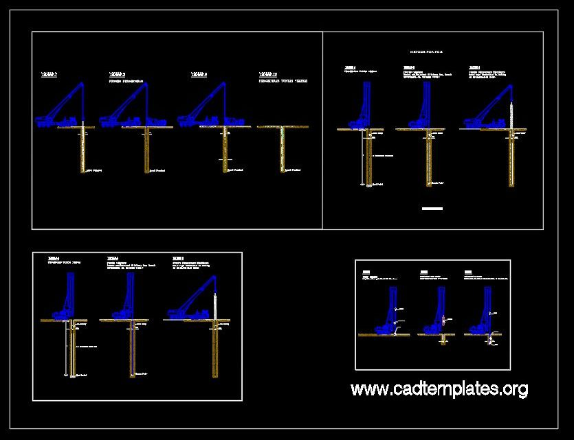 Bored Piles Method Construction Details CAD Template DWG