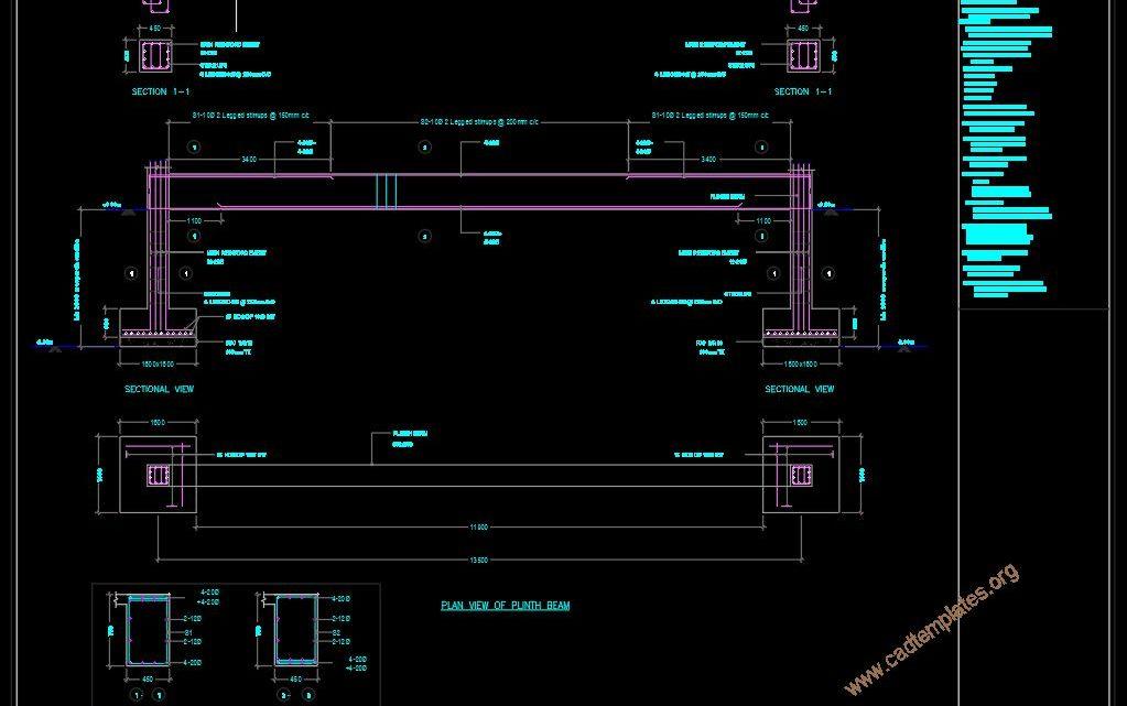 Bridge Column and Plinth Beam Details CAD Template DWG