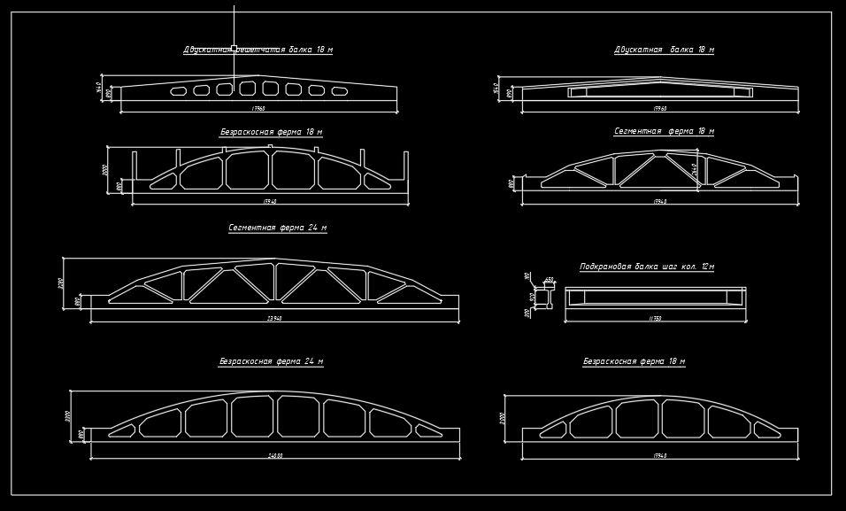 Bridge Reinforced Concrete Beams and Trusses CAD Template DWG