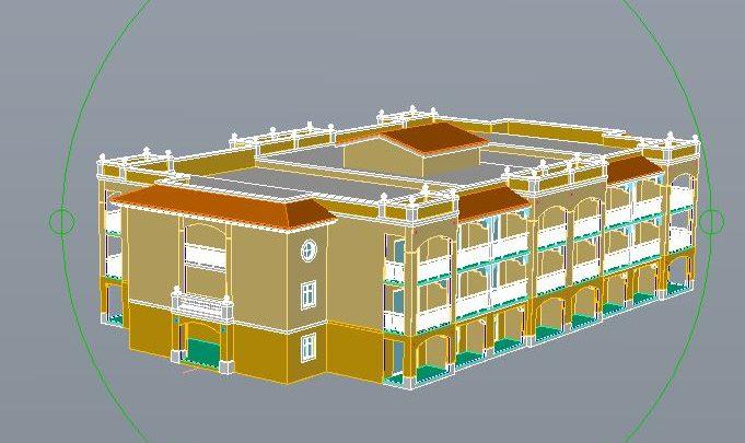 Bungalo Building Hotel 3D Autocad Template DWG