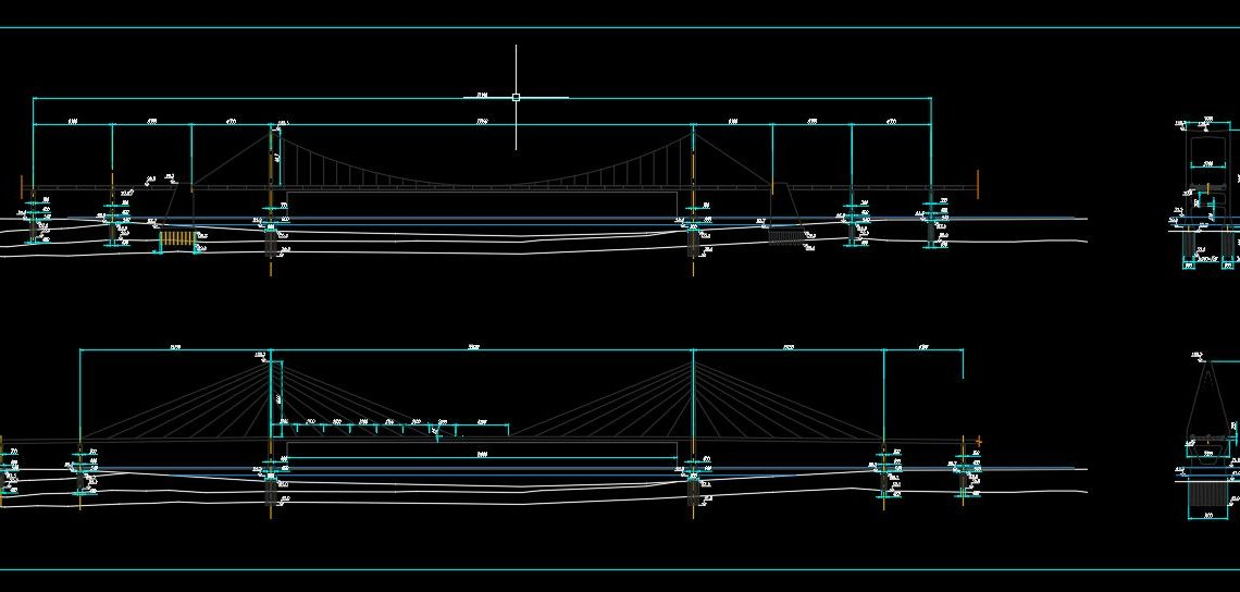 Cable-Stayed Bridge Elevation and Sections CAD Template DWG