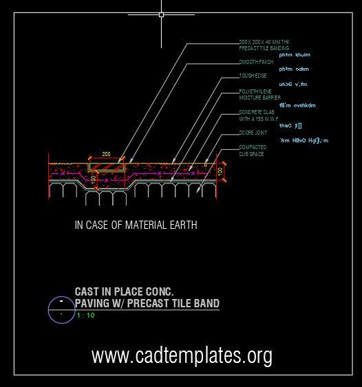 Cast in Place Concrete Paving Details CAD Template DWG