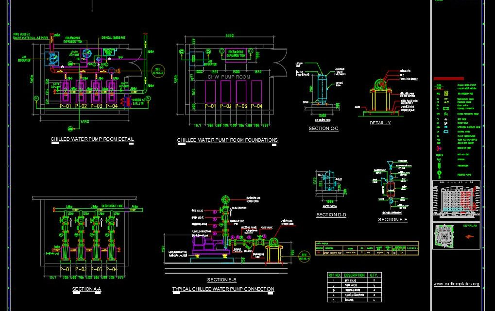 Chilled Water Pump Room Details Layout Plan CAD Template DWG