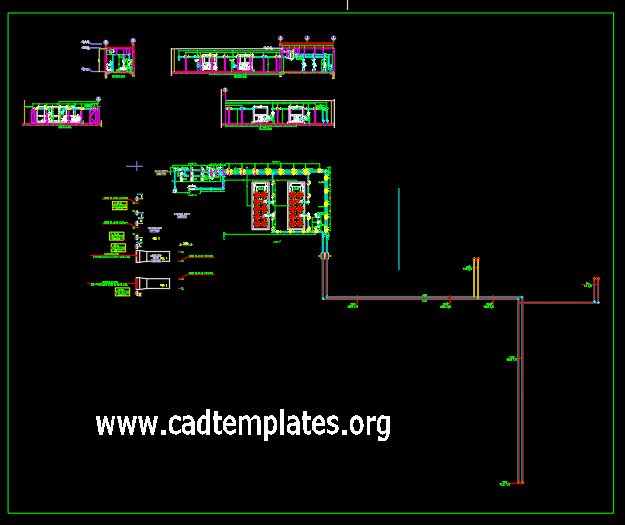 Chiller Plan Room Plan Elevation and Sections Details CAD Template DWG