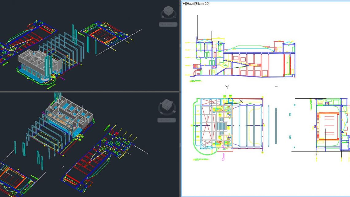 Cinema Layout Plan Elevations and 3D Model Autocad Template DWG